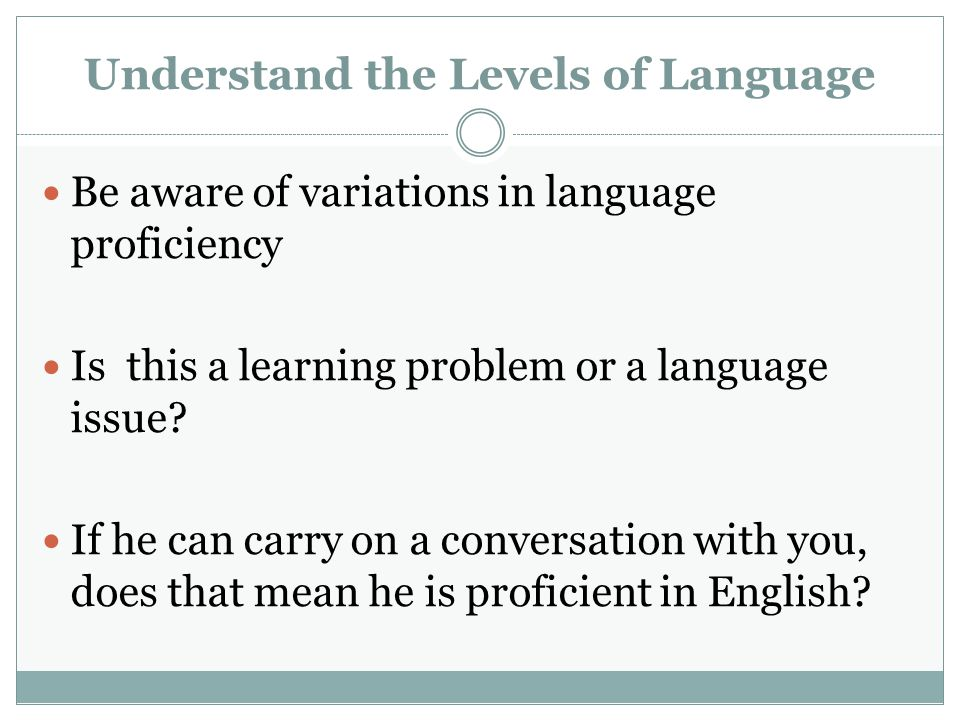 Understand the Levels of Language