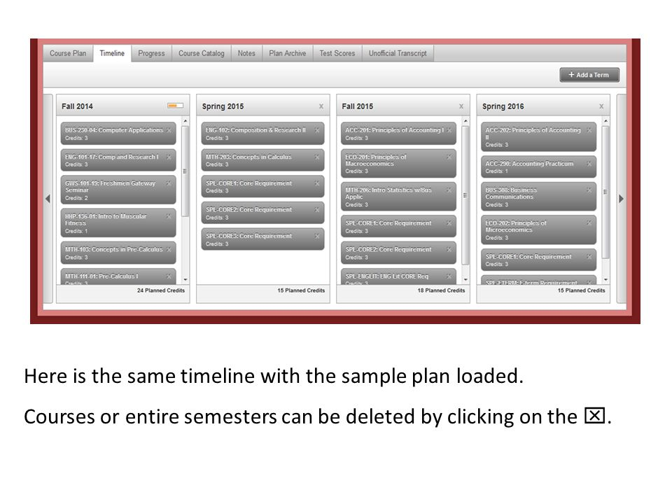 Here is the same timeline with the sample plan loaded.