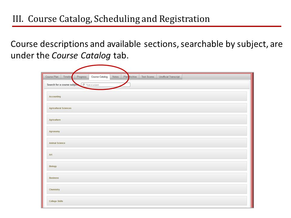 III. Course Catalog, Scheduling and Registration