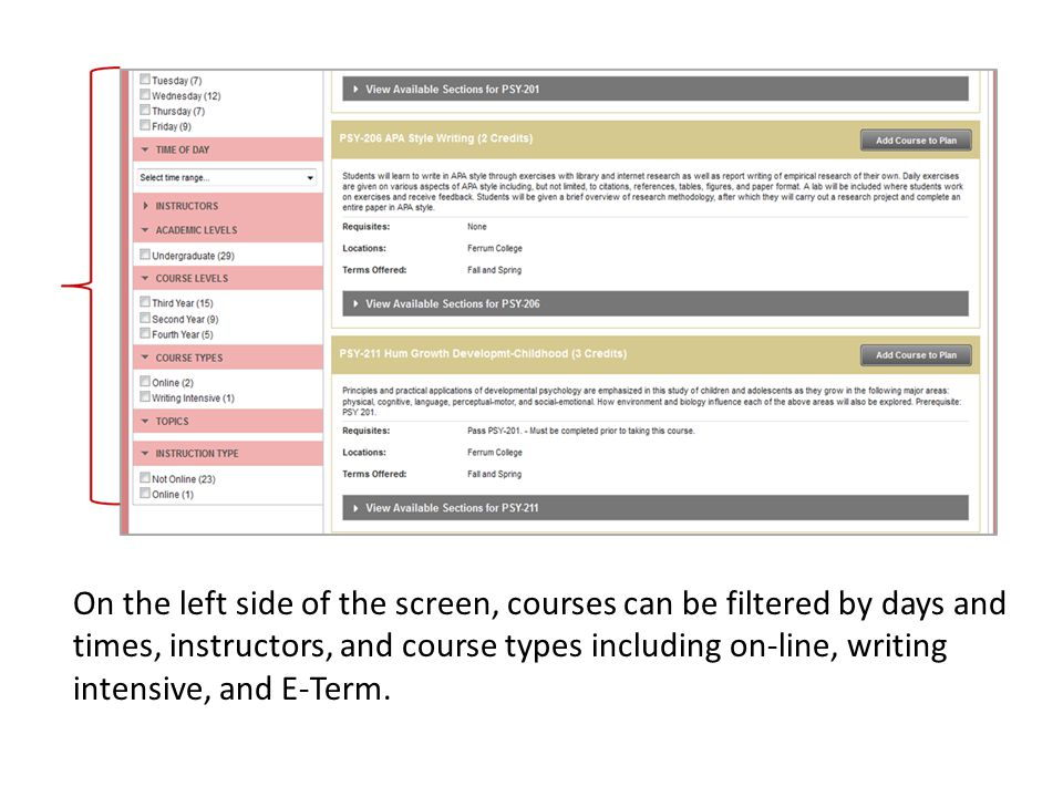 On the left side of the screen, courses can be filtered by days and times, instructors, and course types including on-line, writing intensive, and E-Term.