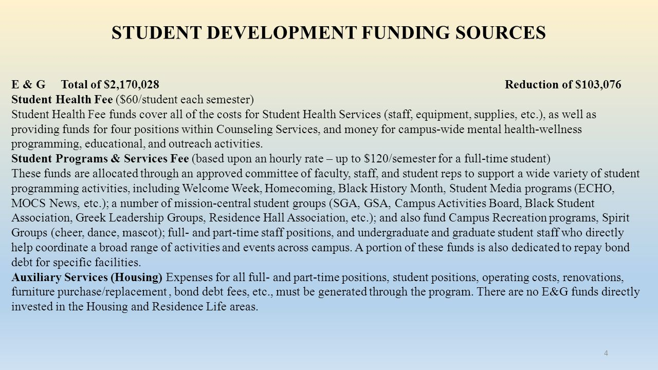STUDENT DEVELOPMENT FUNDING SOURCES