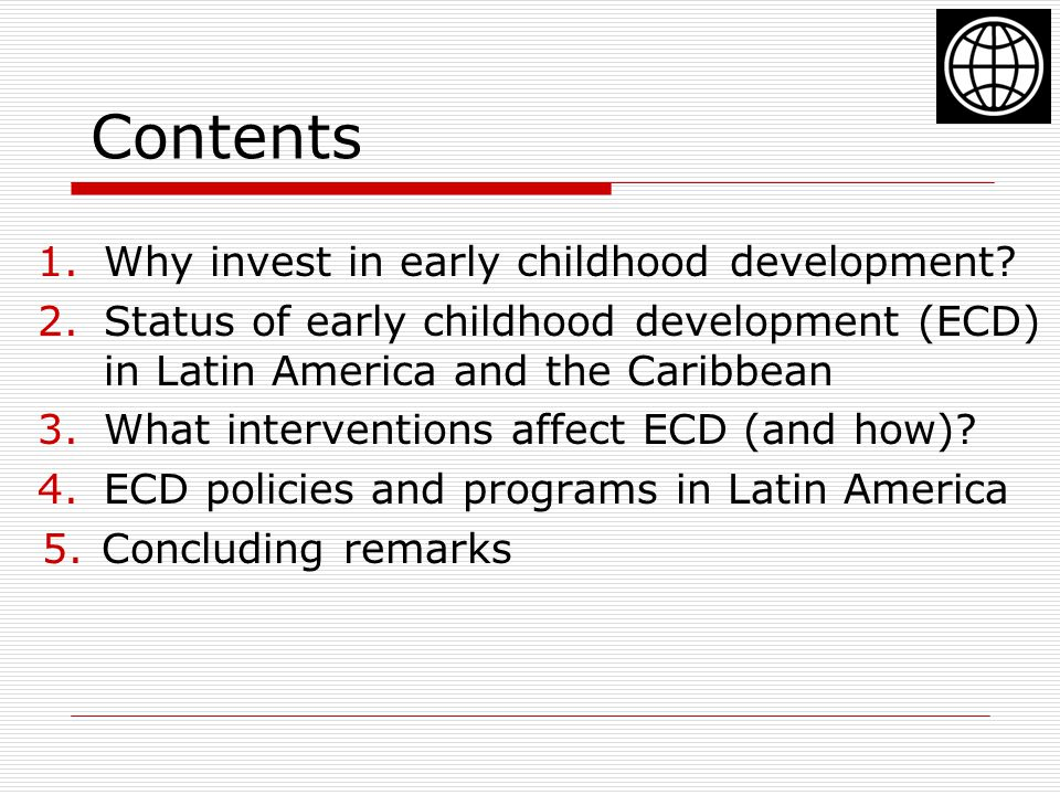 Contents Why invest in early childhood development