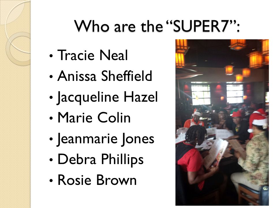 Who are the SUPER7 : Tracie Neal Anissa Sheffield Jacqueline Hazel