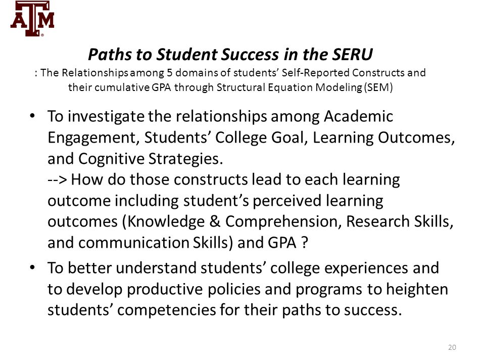 Paths to Student Success in the SERU