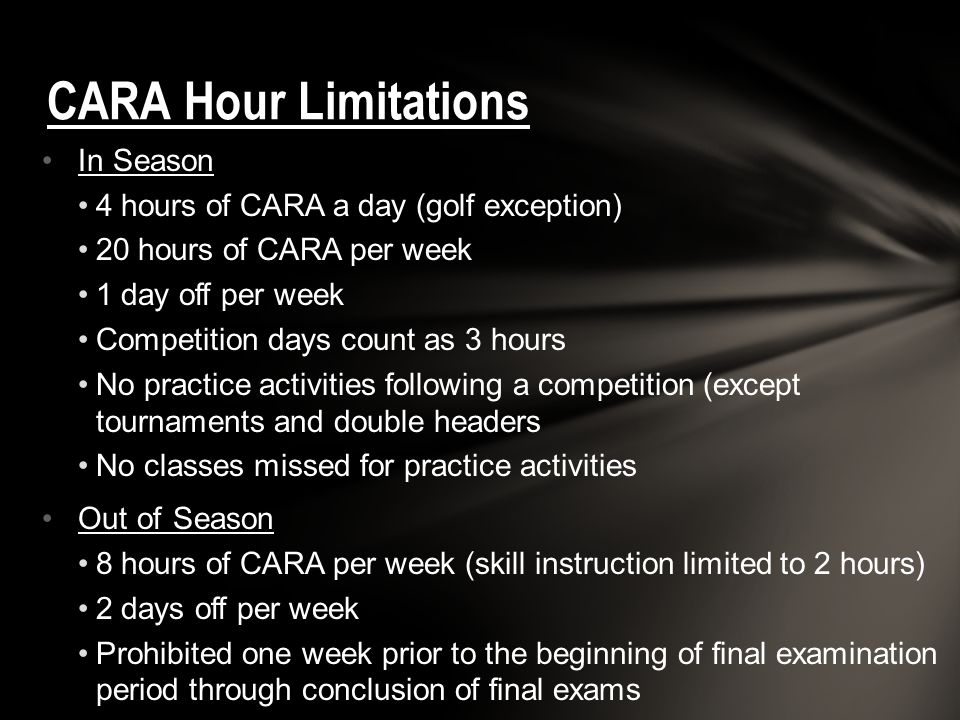 CARA Hour Limitations In Season 4 hours of CARA a day (golf exception)