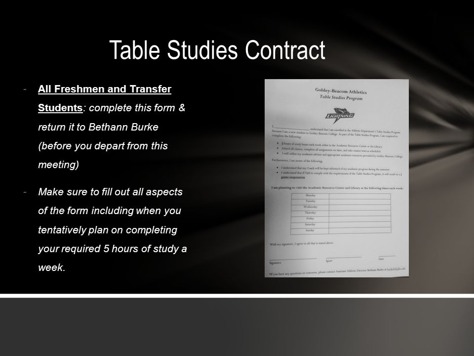 Table Studies Contract