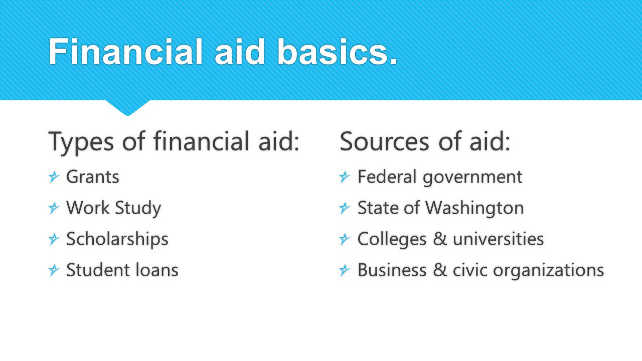 Financial aid basics. Types of financial aid: Sources of aid: Grants