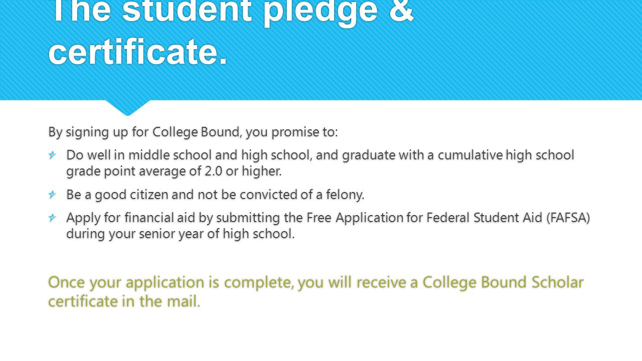 The student pledge & certificate.