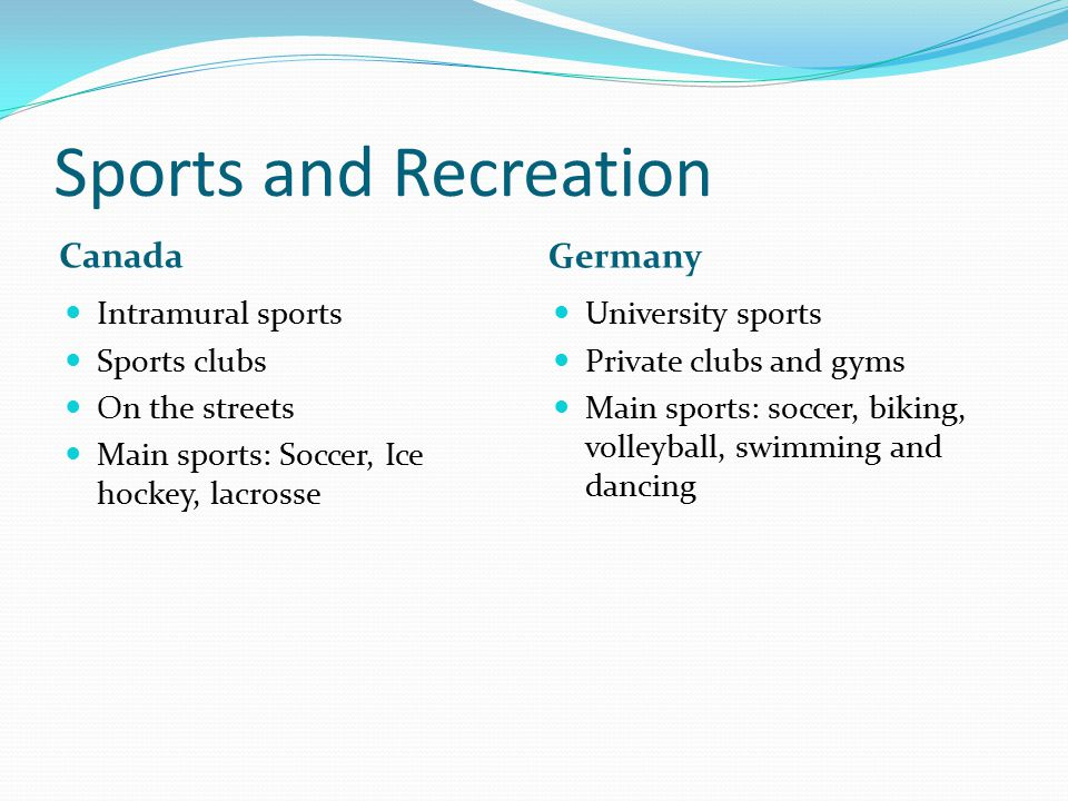 Sports and Recreation Canada Germany Intramural sports Sports clubs