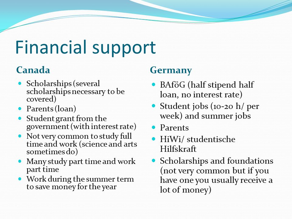 Financial support Canada Germany