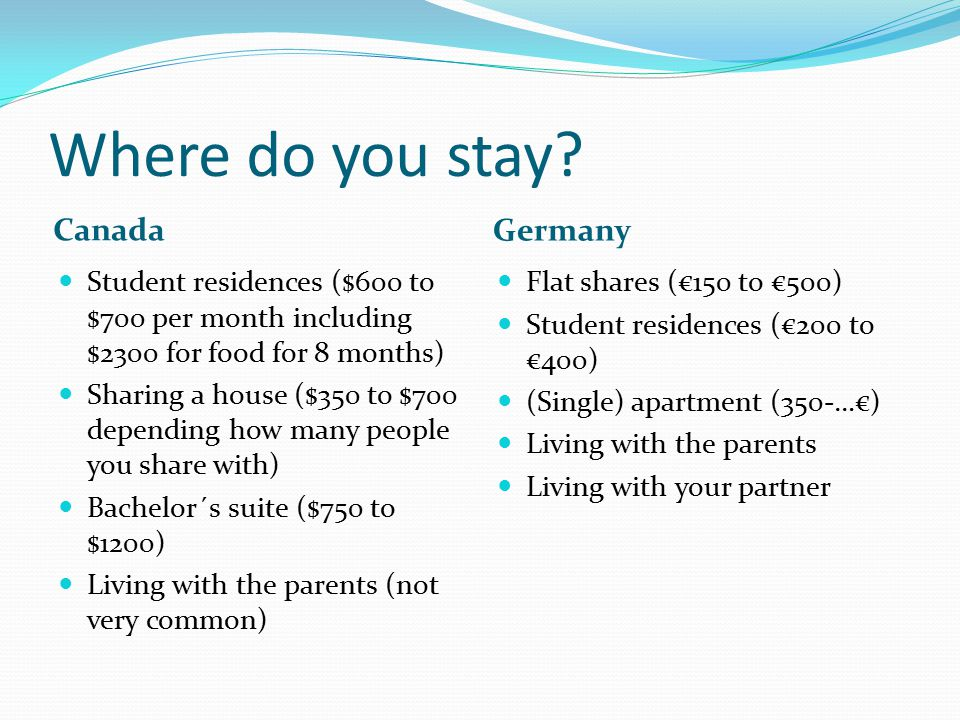 Where do you stay Canada Germany