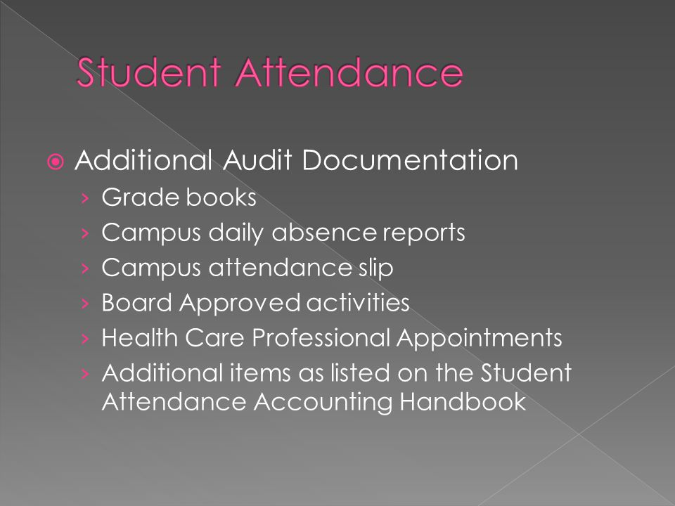 Student Attendance Additional Audit Documentation Grade books