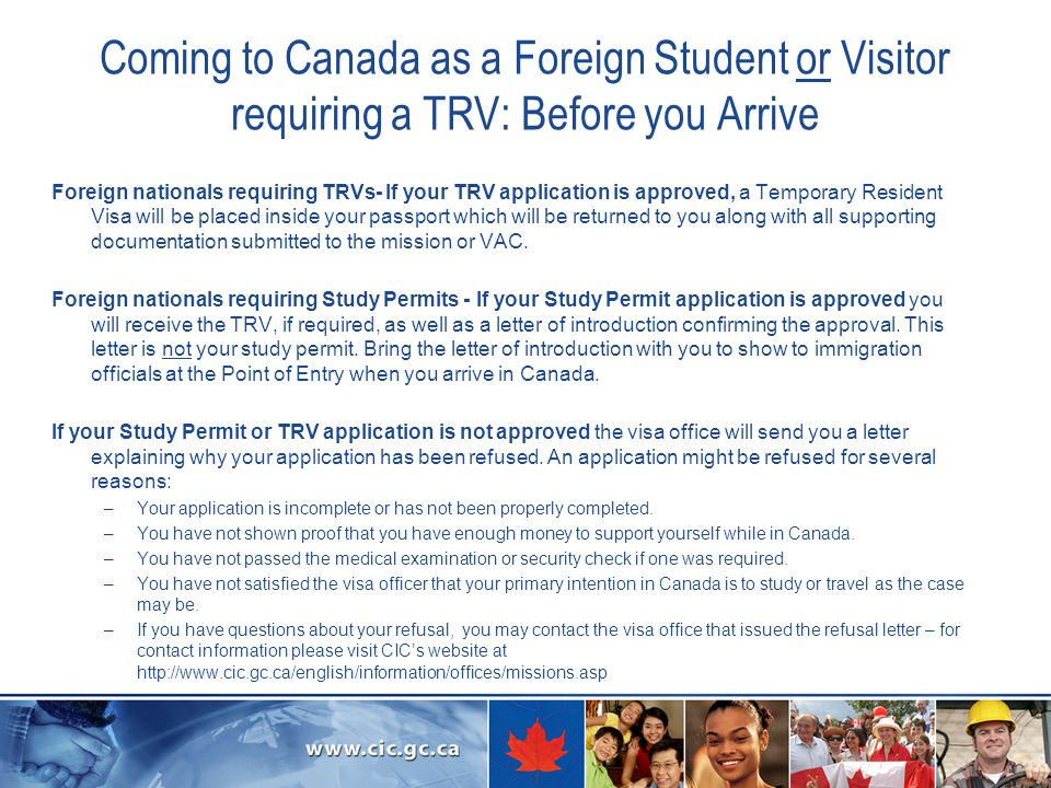 Coming to Canada as a Foreign Student or Visitor requiring a TRV: Before you Arrive