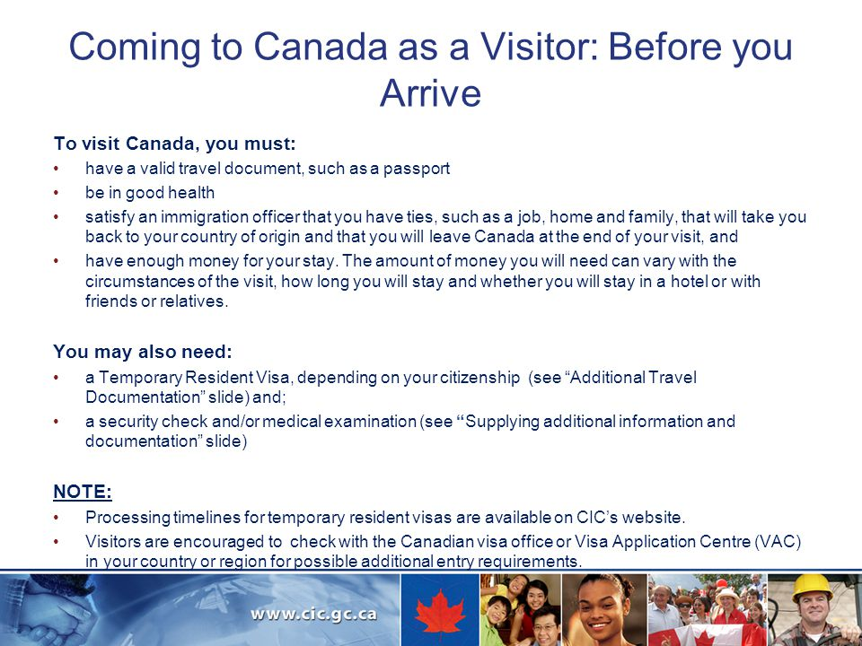 Coming to Canada as a Visitor: Before you Arrive