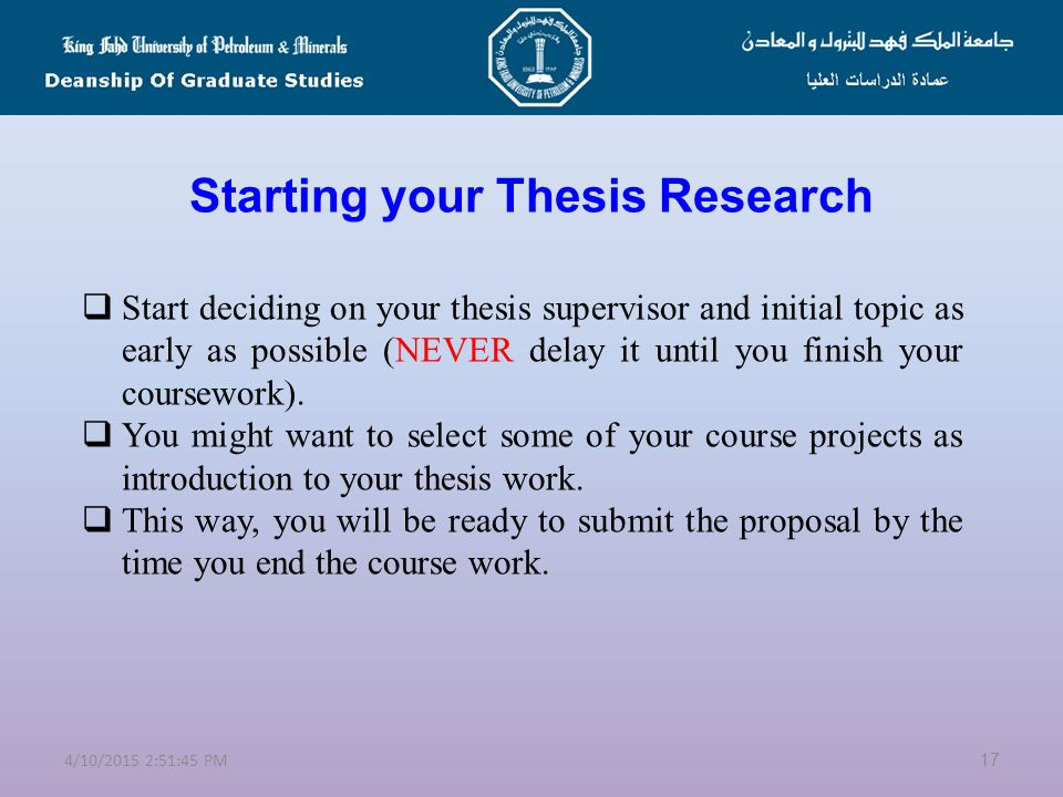 Starting your Thesis Research