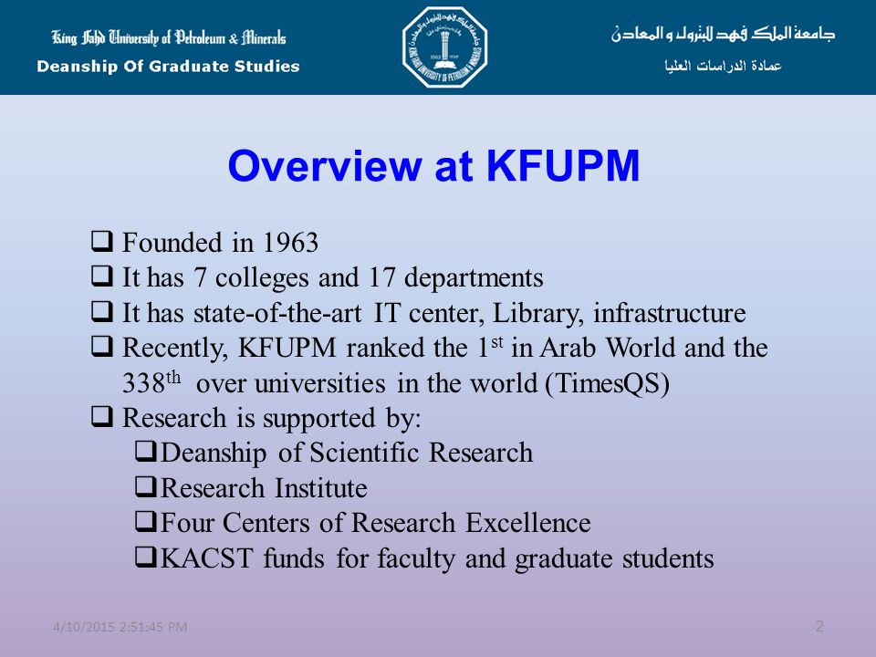 Overview at KFUPM Founded in 1963 It has 7 colleges and 17 departments