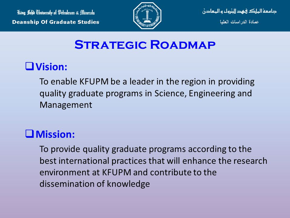 Strategic Roadmap Vision: Mission: