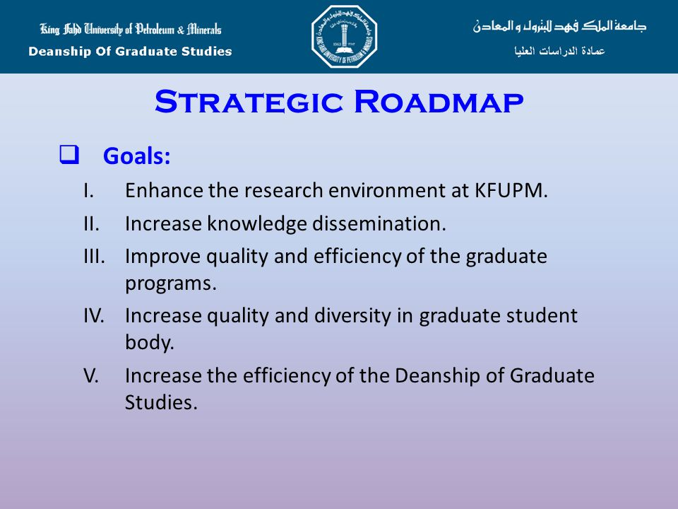 Strategic Roadmap Goals: I. Enhance the research environment at KFUPM.