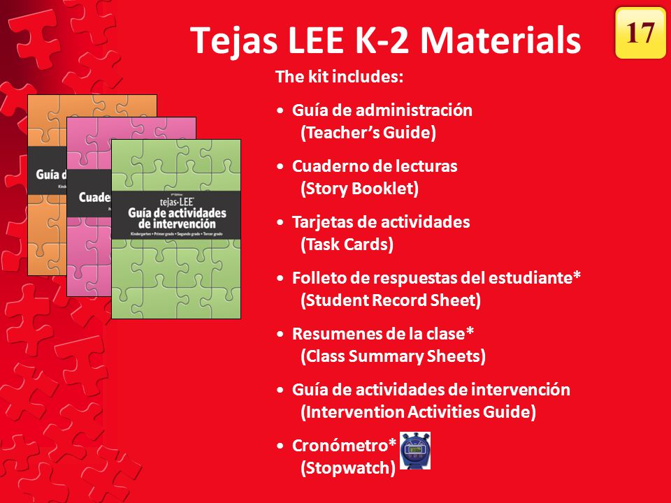 Tejas LEE K-2 Materials 17 The kit includes: Guía de administración
