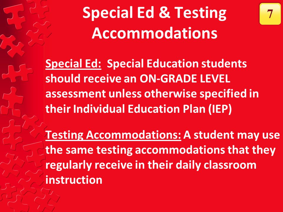 Special Ed & Testing Accommodations
