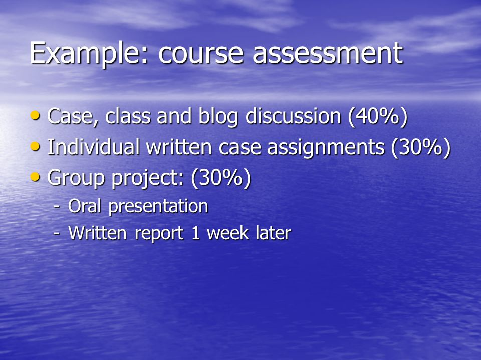 Example: course assessment
