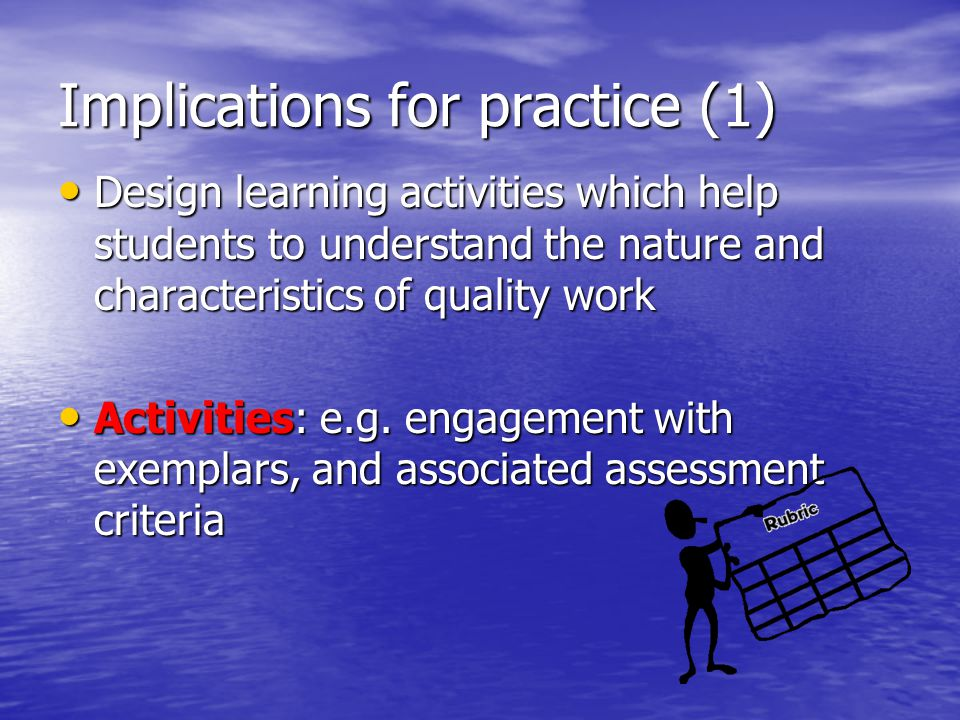 Implications for practice (1)