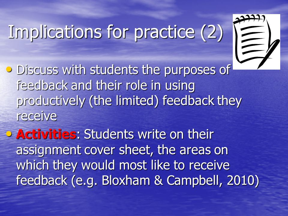 Implications for practice (2)
