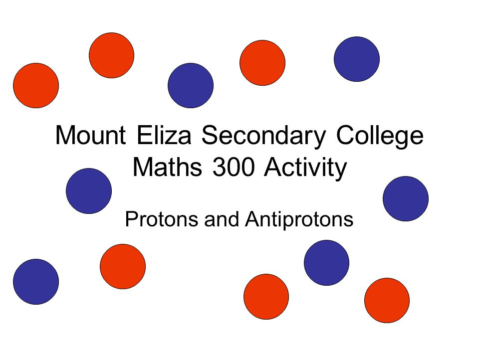 Mount Eliza Secondary College Maths 300 Activity