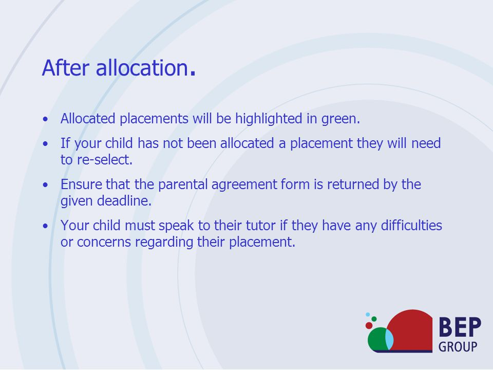 After allocation. Allocated placements will be highlighted in green.