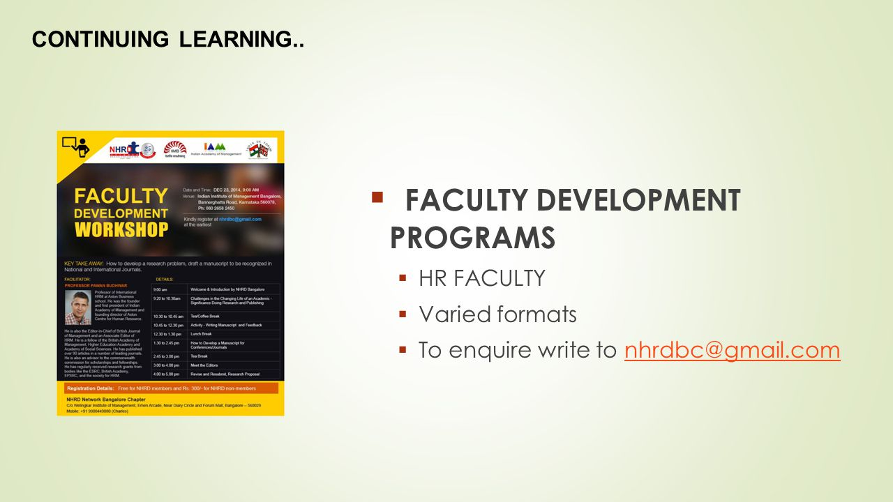 FACULTY DEVELOPMENT PROGRAMS
