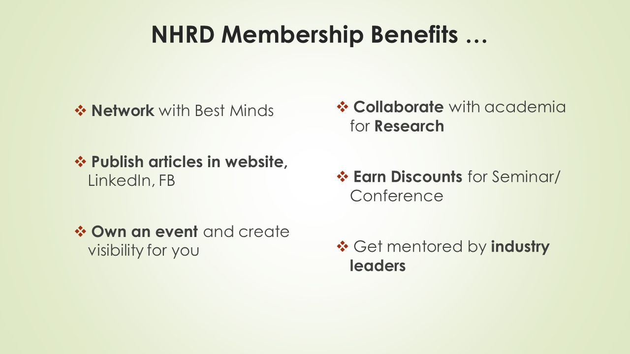 NHRD Membership Benefits …