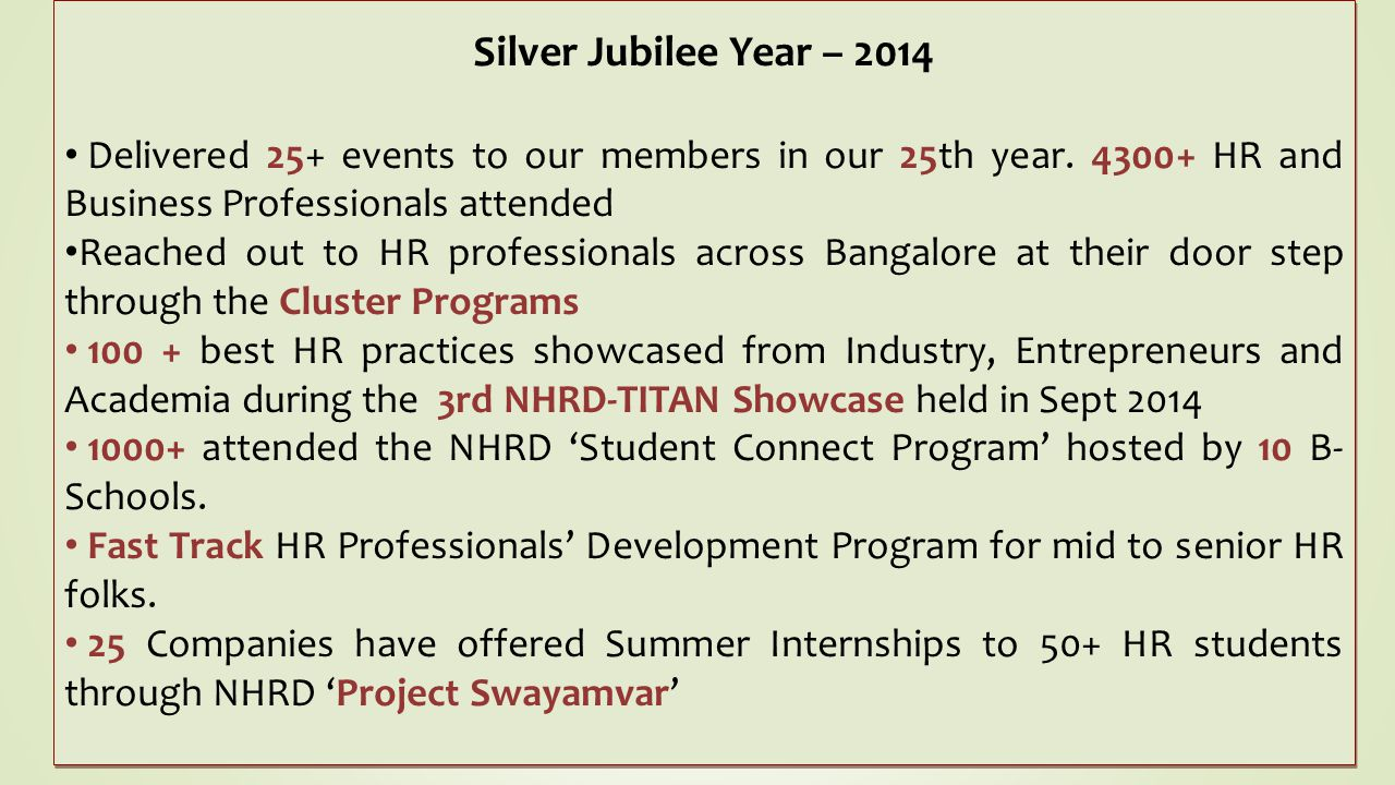 Silver Jubilee Year – 2014 Delivered 25+ events to our members in our 25th year. 4300+ HR and Business Professionals attended.