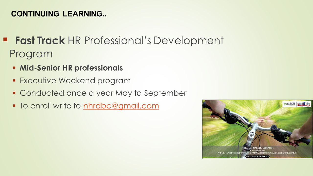 Fast Track HR Professional's Development Program