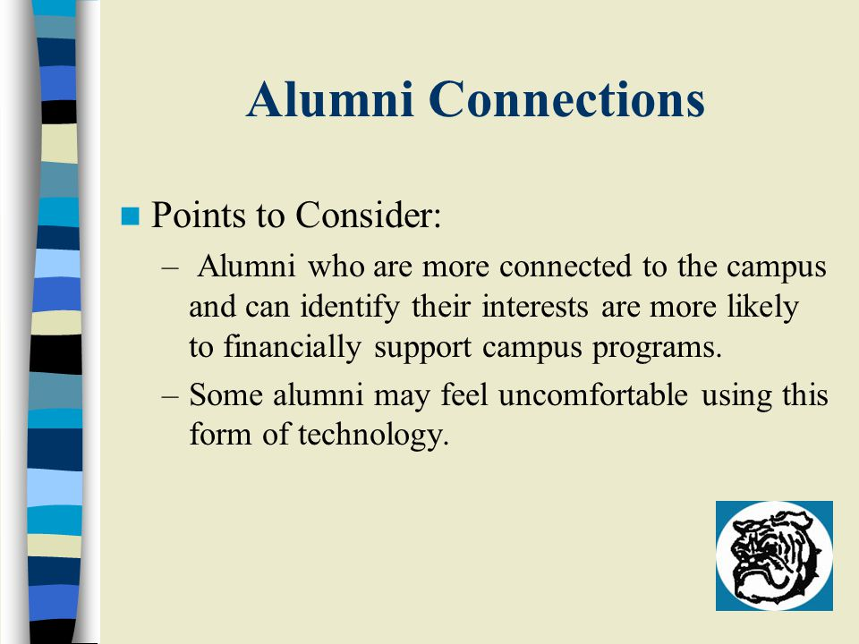 Alumni Connections Points to Consider: