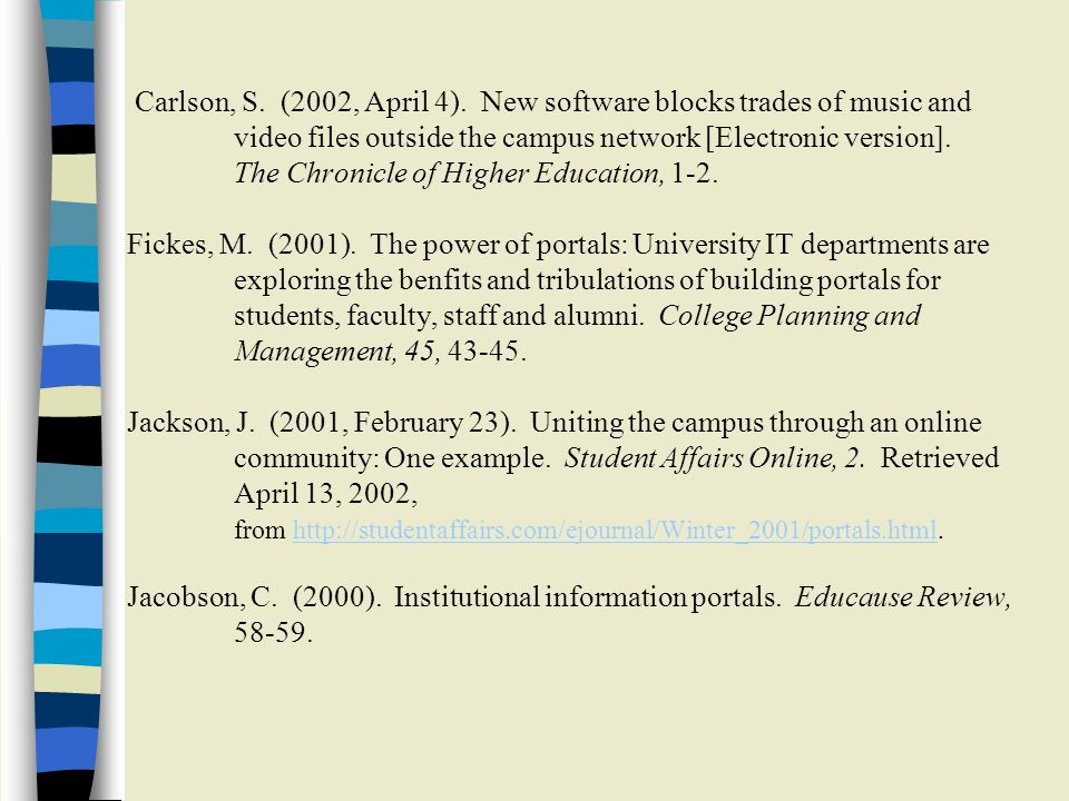 Carlson, S. (2002, April 4). New software blocks trades of music and