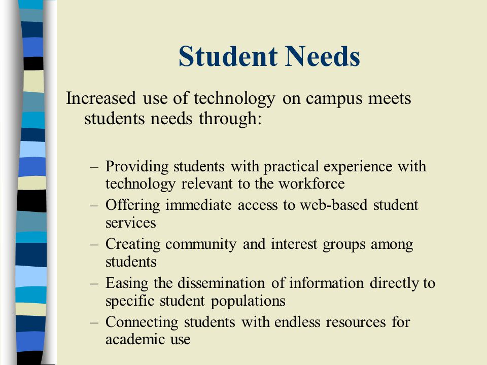 Student Needs Increased use of technology on campus meets students needs through: