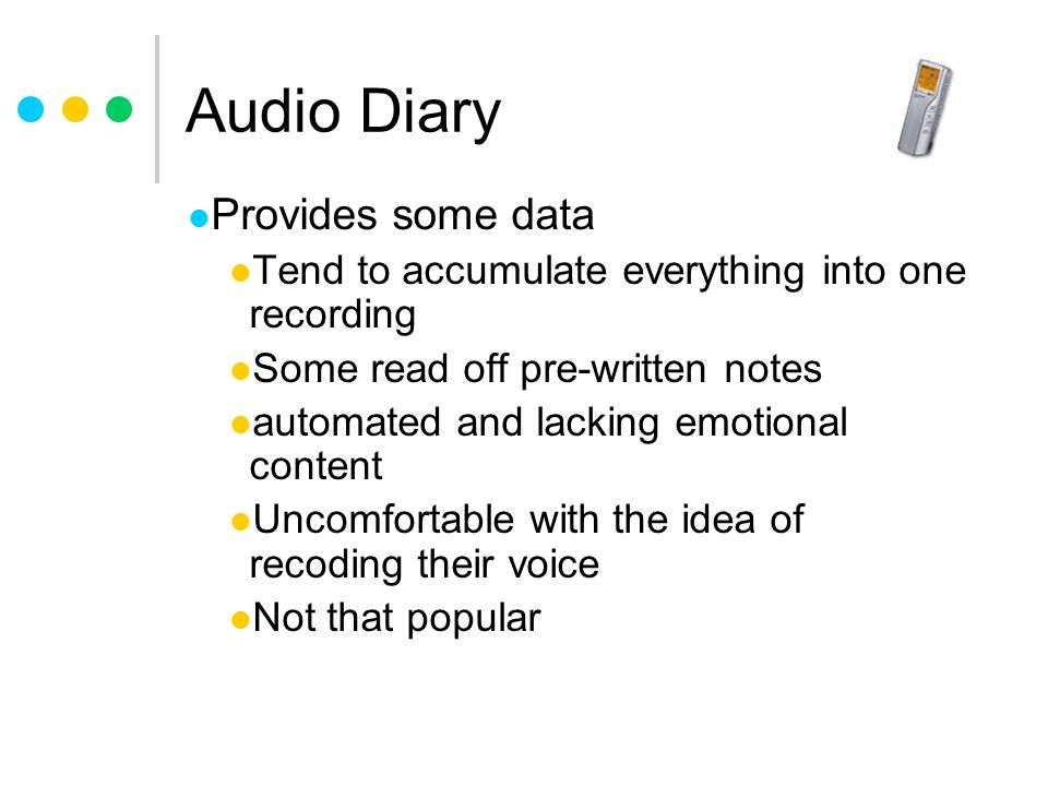 Audio Diary Provides some data