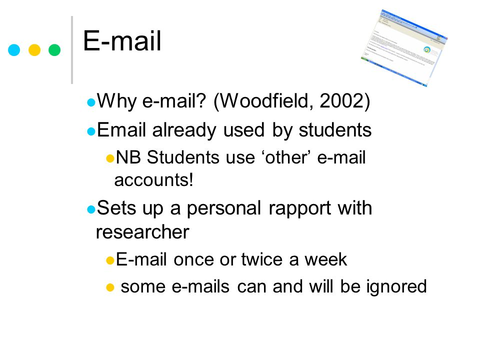 E-mail Why e-mail (Woodfield, 2002) Email already used by students