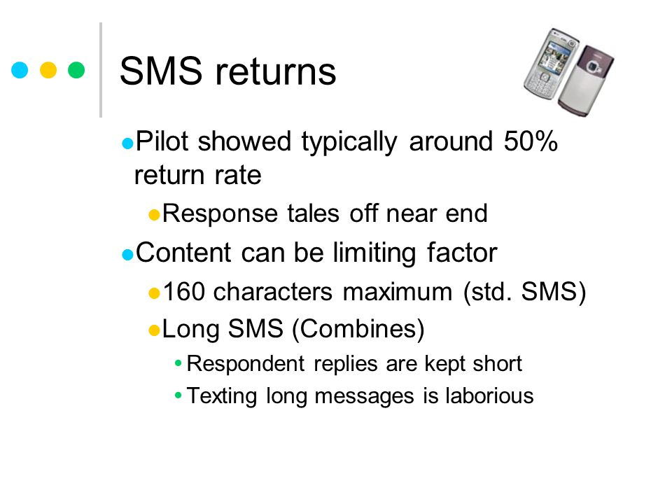 SMS returns Pilot showed typically around 50% return rate