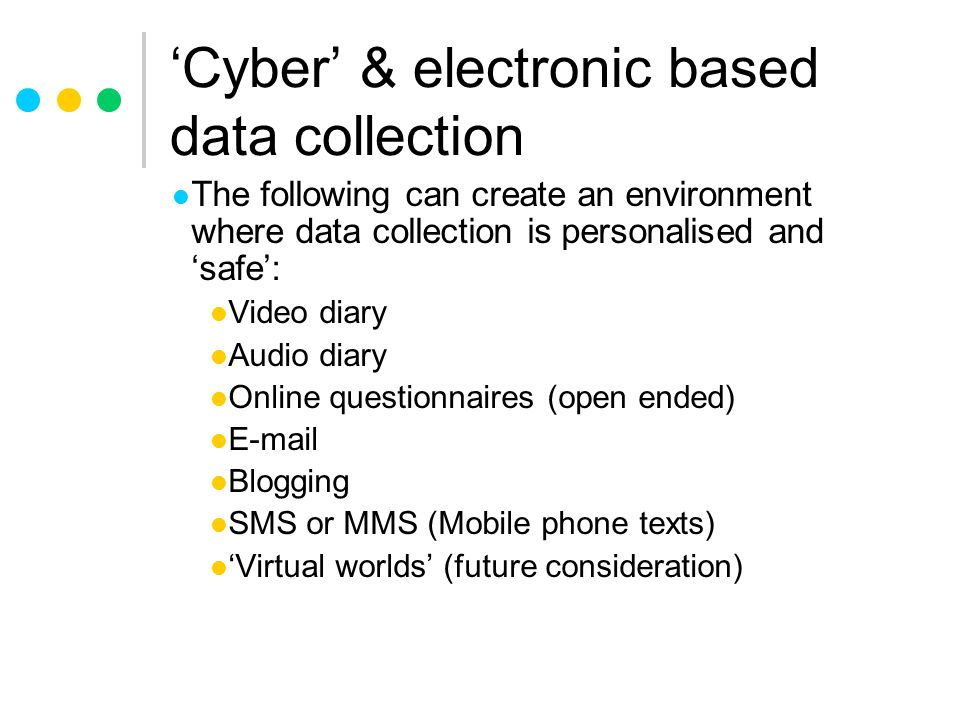'Cyber' & electronic based data collection