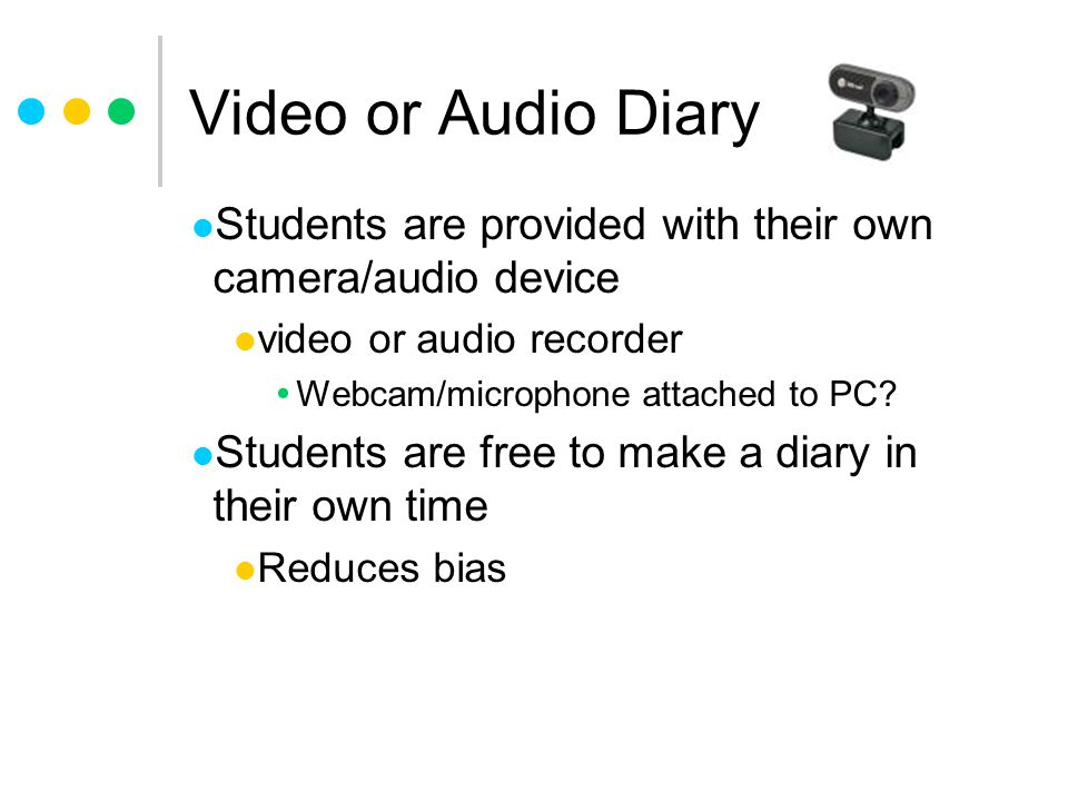 Video or Audio Diary Students are provided with their own camera/audio device. video or audio recorder.