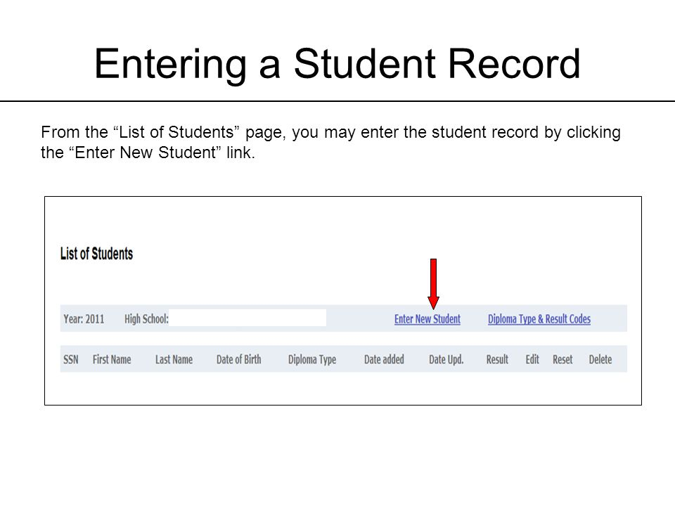 Entering a Student Record