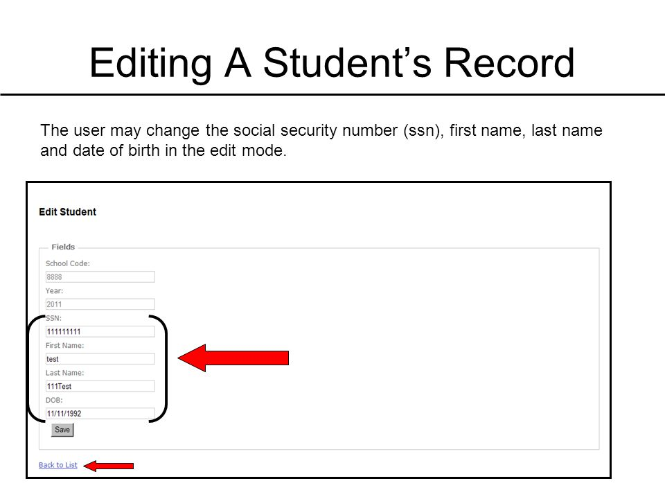 Editing A Student's Record