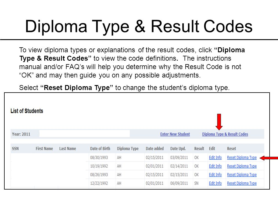 Diploma Type & Result Codes