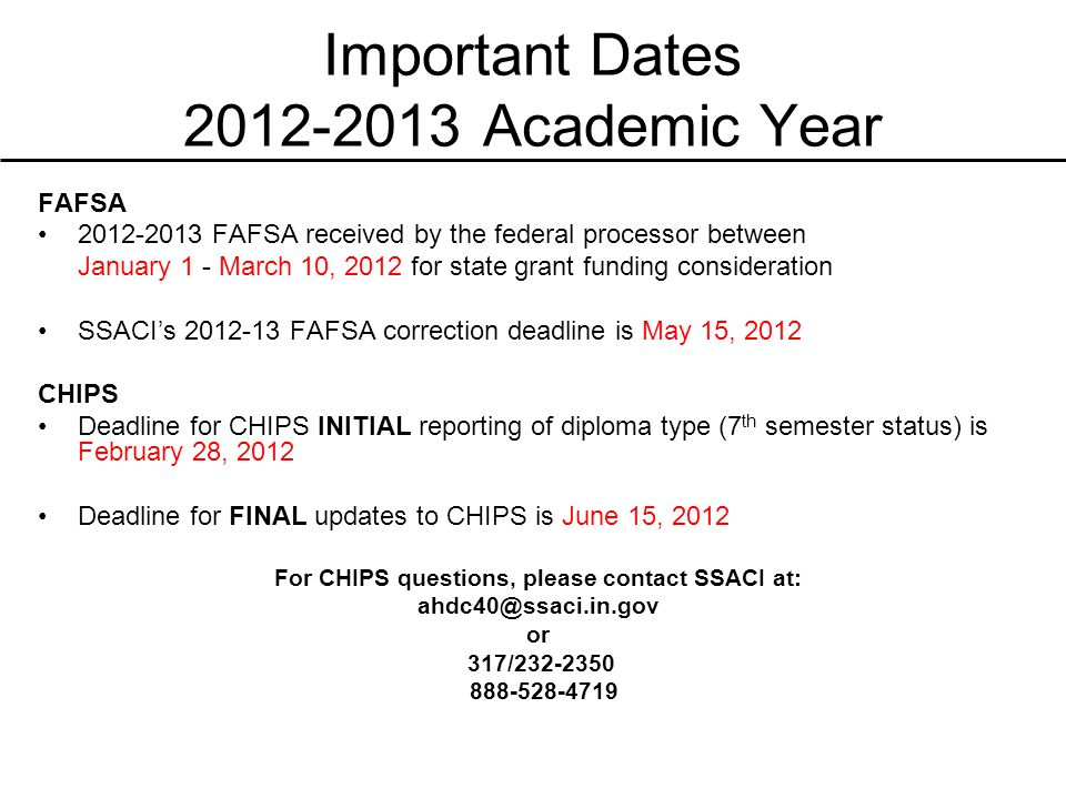 Important Dates 2012-2013 Academic Year