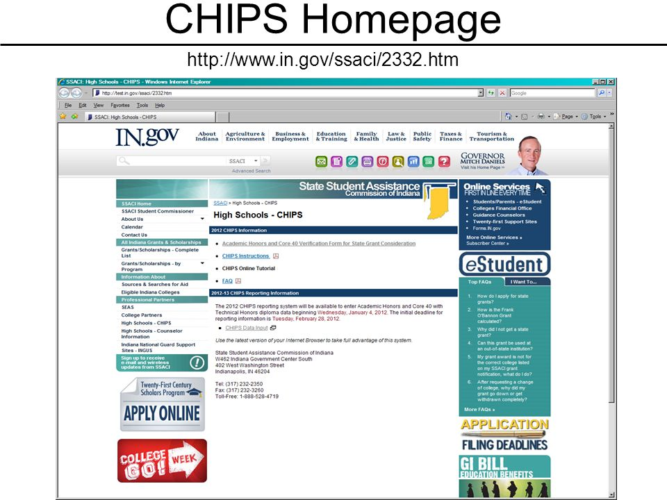 CHIPS Homepage http://www.in.gov/ssaci/2332.htm