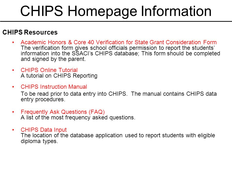 CHIPS Homepage Information