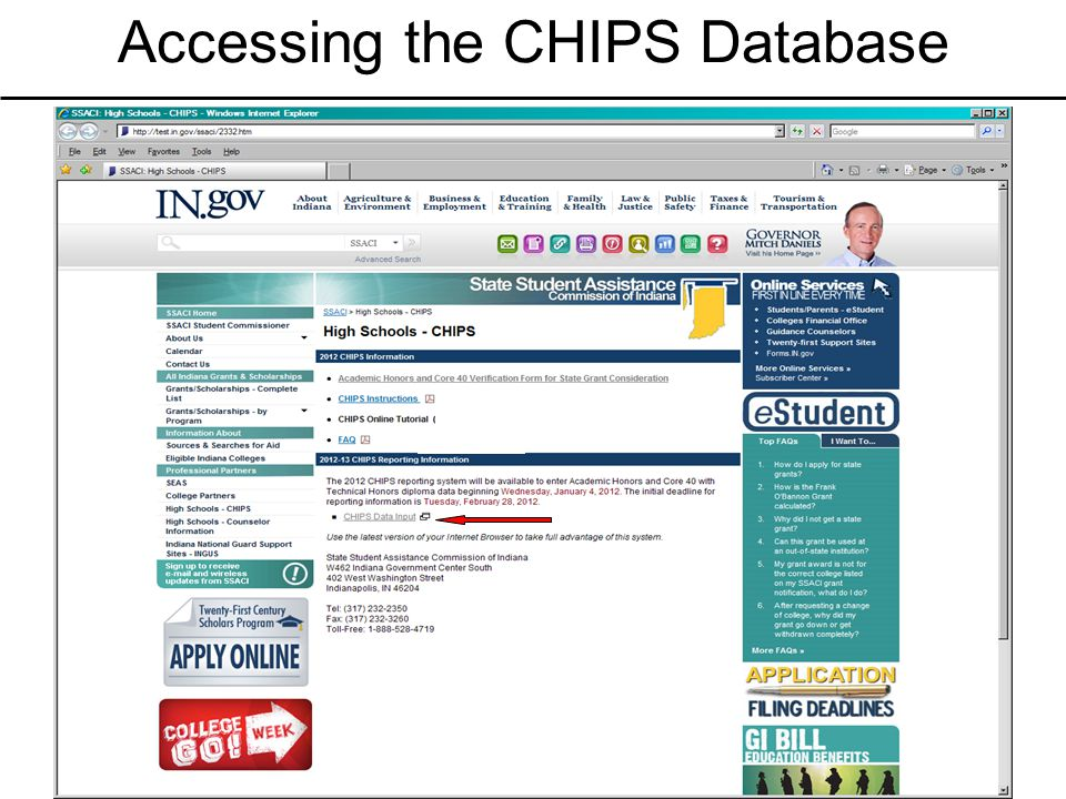Accessing the CHIPS Database