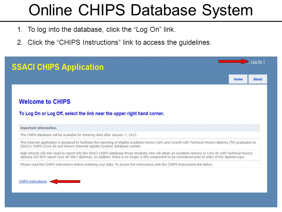 Online CHIPS Database System