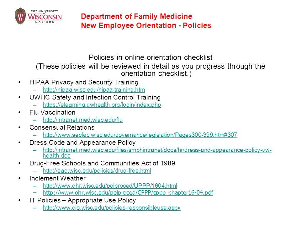 Policies in online orientation checklist